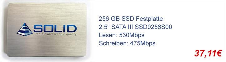 "256 GB SSD Festplatte SOLID 2.5"" SATA III SSD0256S00 Hard Disk HDD"
