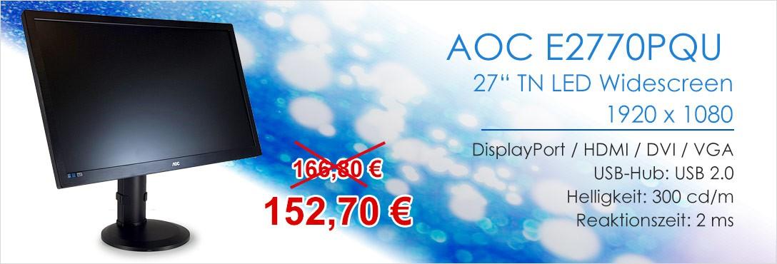 AOC E2770PQU 27 Zoll TN TFT Monitor DisplayPort HDMI DVI VGA 1920 x 1080 2 ms