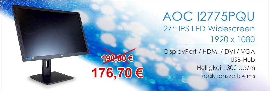 AOC I2775PQU 27 Zoll IPS TFT Monitor DisplayPort HDMI DVI VGA 1920x1080 4 ms