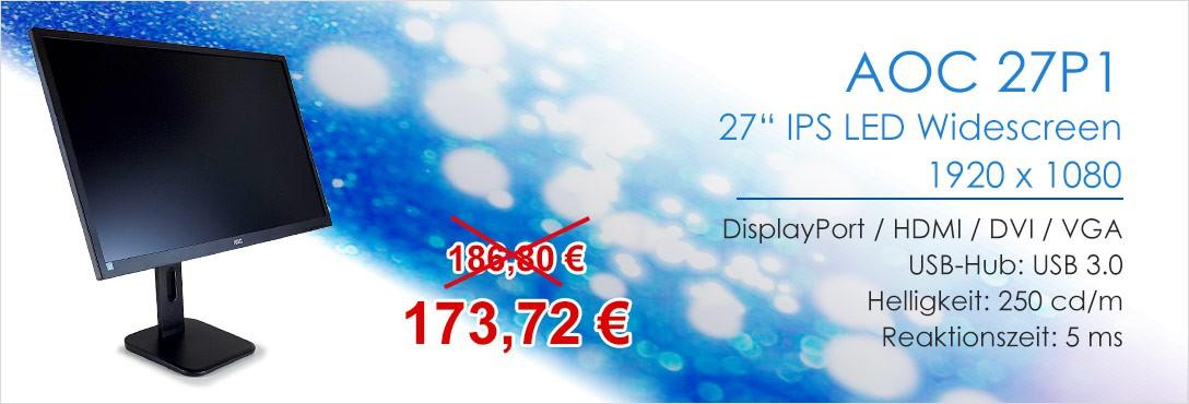 AOC 27P1 27 Zoll IPS TFT Monitor DisplayPort HDMI DVI VGA 1920 x 1080 5 ms